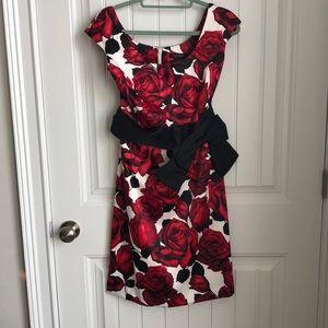 White House Black Market Satin Rose print dress